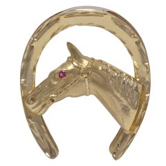 Large Gold Horse and Horseshoe Brooch