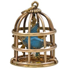 Large Enamel Bird in a Golden Cage Charm