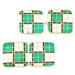 Art Deco Plaid Gold Cufflinks