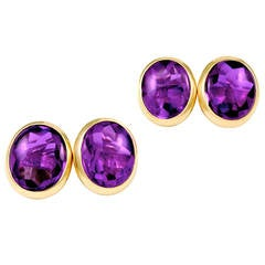 Antique Amethyst Gold Cufflinks