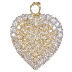 Antique Diamond Gold Heart Pin /Pendant