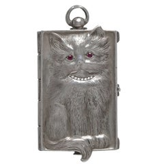 Antique Sterling Silver Cat Evening Case