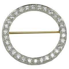 Tiffany & Co. Antique Diamond Platinum Circle Pin
