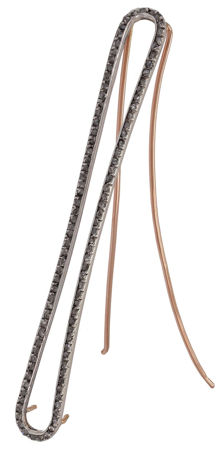 Antique 18K rose gold hair barette, with silver-set foiled rose-cut diamonds.