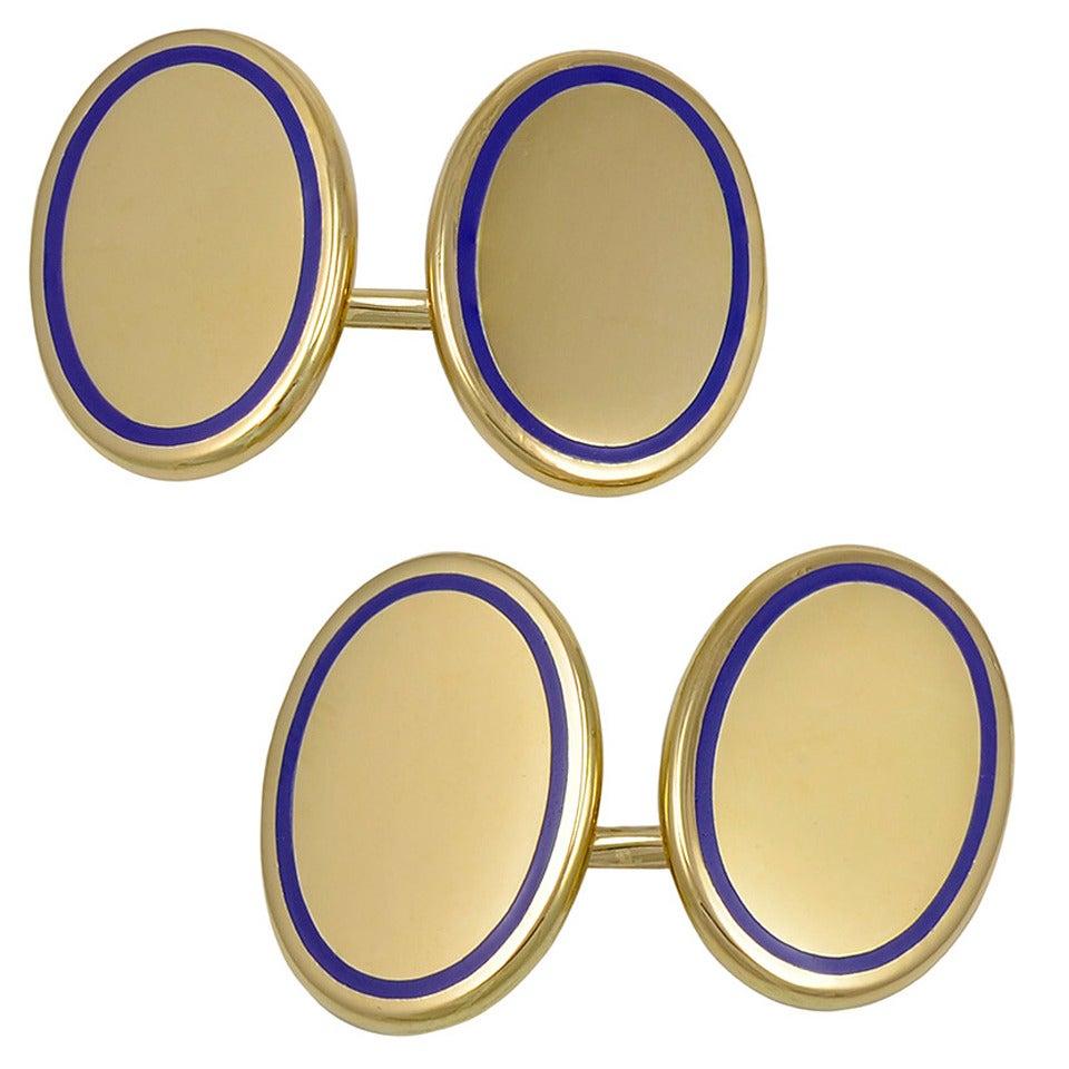 TIFFANY & CO Antique Gold and Enamel Cufflinks