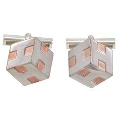 HERMES Cube Silver & Copper Cufflinks