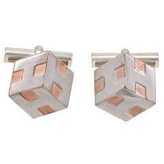 HERMES Cube Silver & Copper Cufflinks