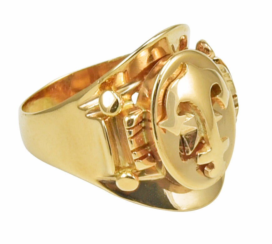 gold anchor themed ring at 1stdibs