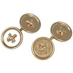 Tiffany & Co. Double-Sided Gold Button Cufflinks