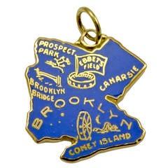 Rare Brooklyn Enamel Gold Figural Charm