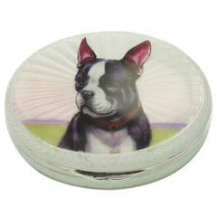 French Bull Dog Antique Enamel Silver Case