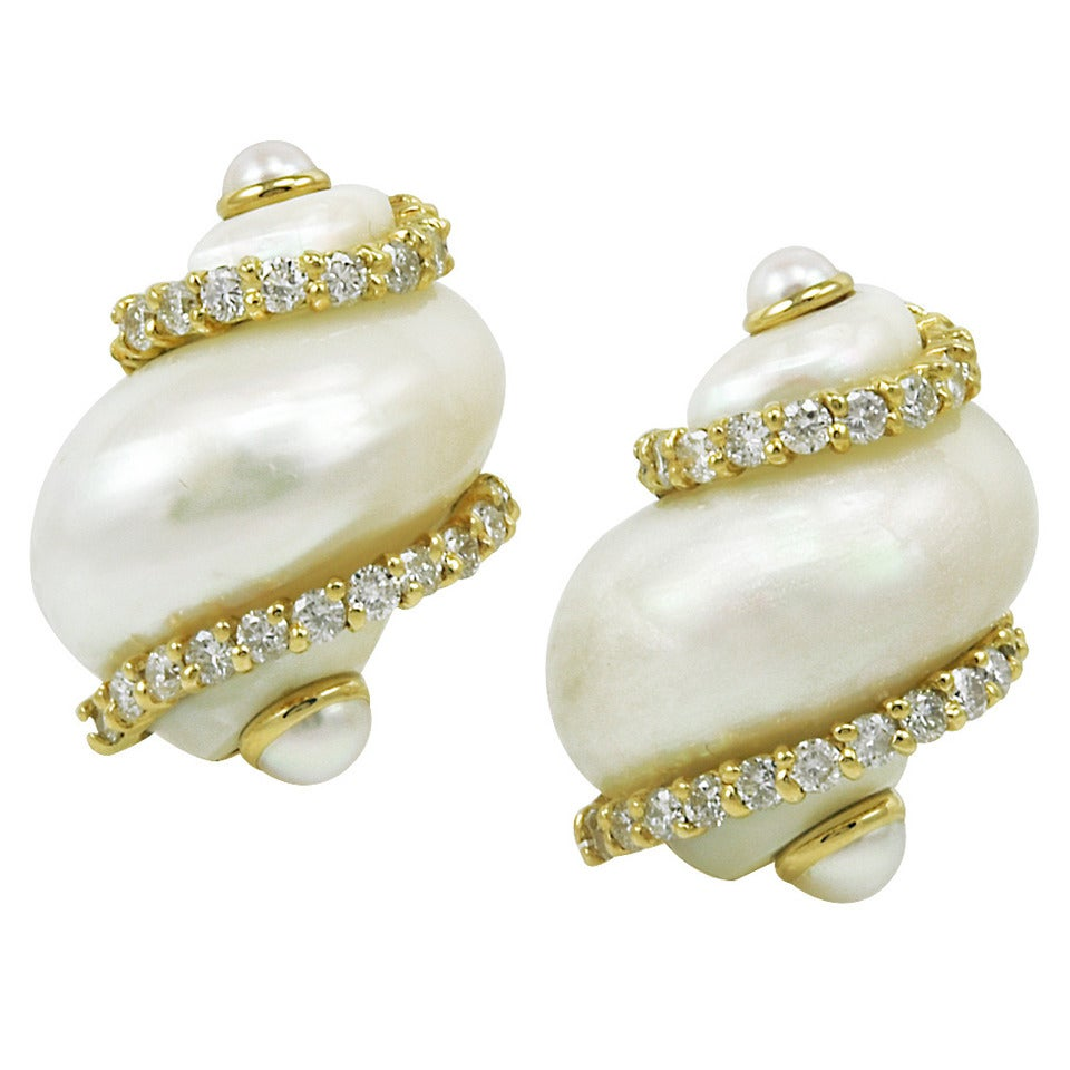 Seaman Schepps Diamond Gold Turbo Shell Earclips For Sale
