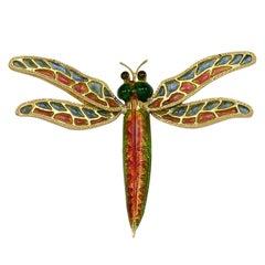 Dragonfly Plique-a-Jour Brooch