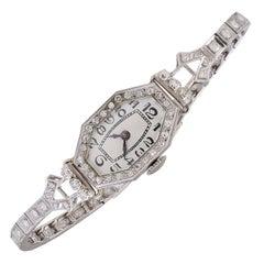 Lady's Platinum Diamond Antique Wristwatch