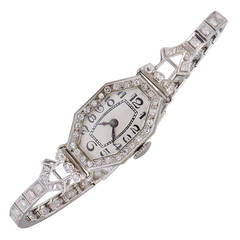 Lady's Platinum Diamond Antique Wristwatch