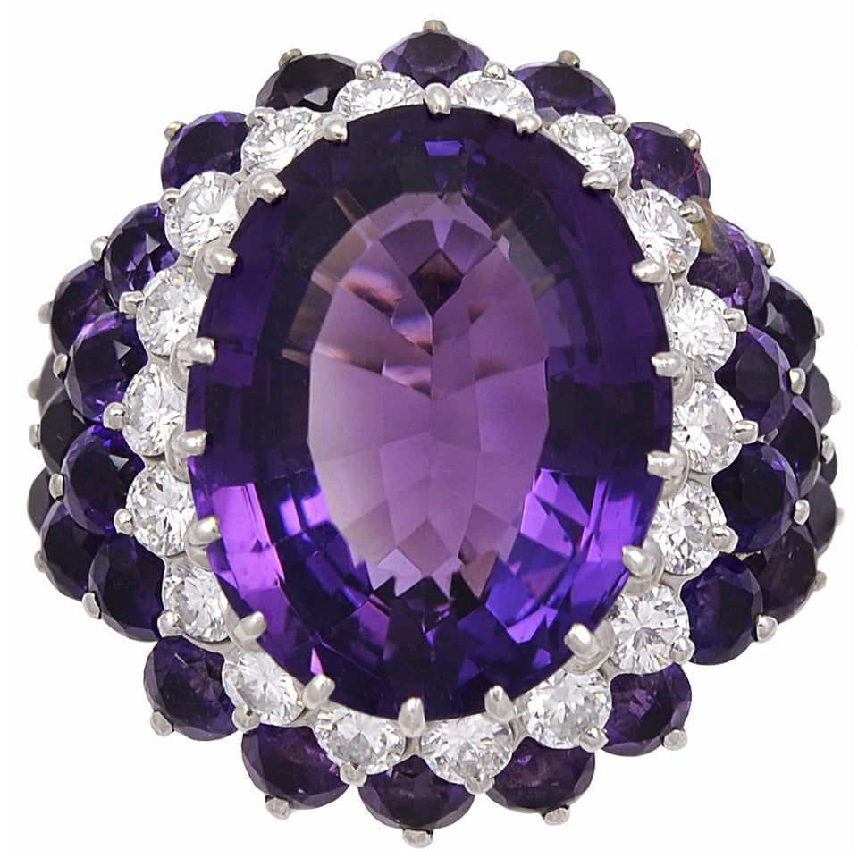 1940s Amethyst Diamond Gold Cocktail Ring For Sale