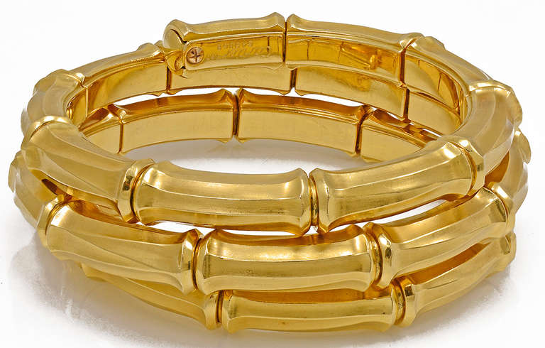 Cartier Gold Bamboo Bracelet In Excellent Condition For New York Ny