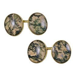 Antique Moss Agate Cufflinks