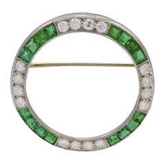 Emerald and Diamond Circle Pin