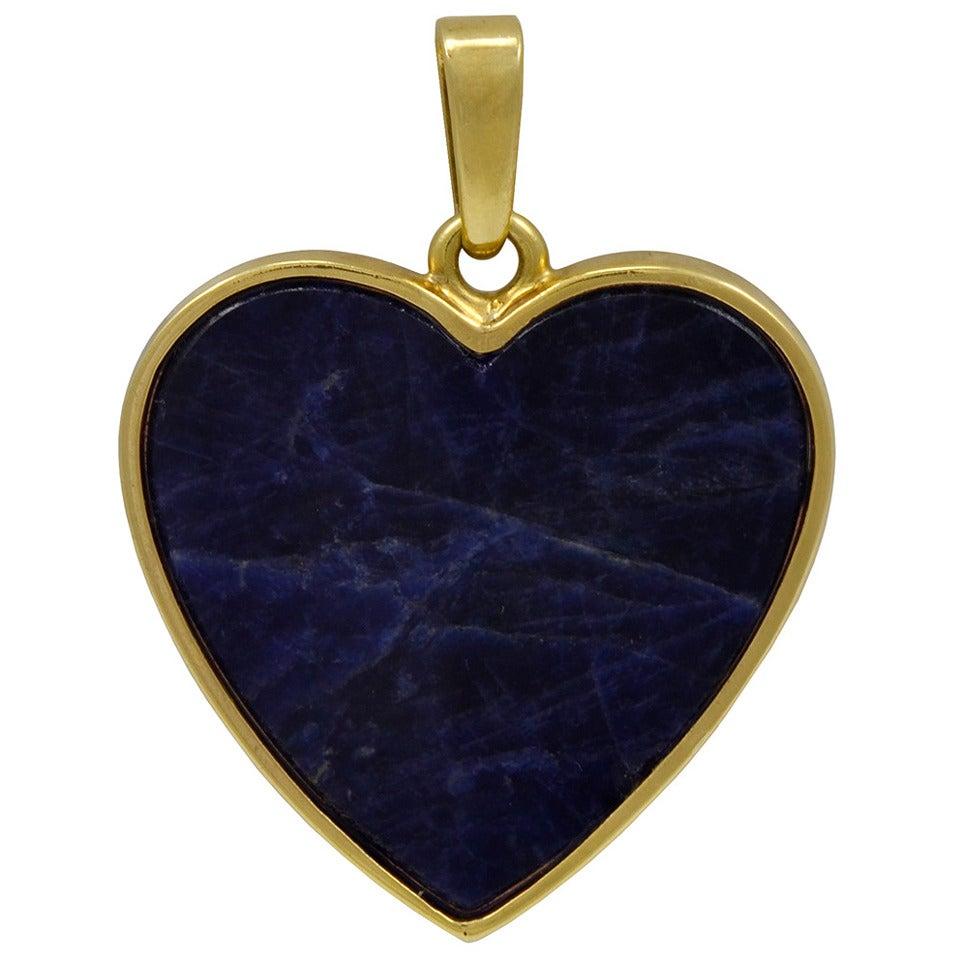 Tiffany & Co. Lapis Gold Heart Pendant