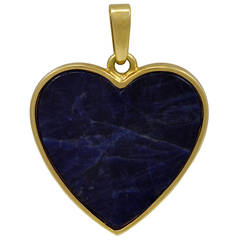 Tiffany & Co. Lapis Gold Heart Pendant