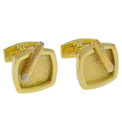 Cigar and Ashtray Gold Figural Cufflinks