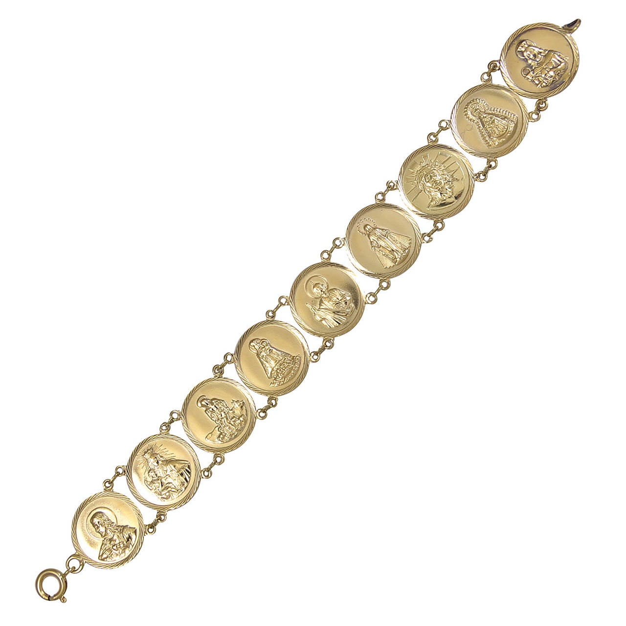 madonna child jesus and saints gold medallion bracelet at