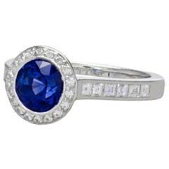 Tiffany & Co. Rare Sapphire Diamond Platinum Ring