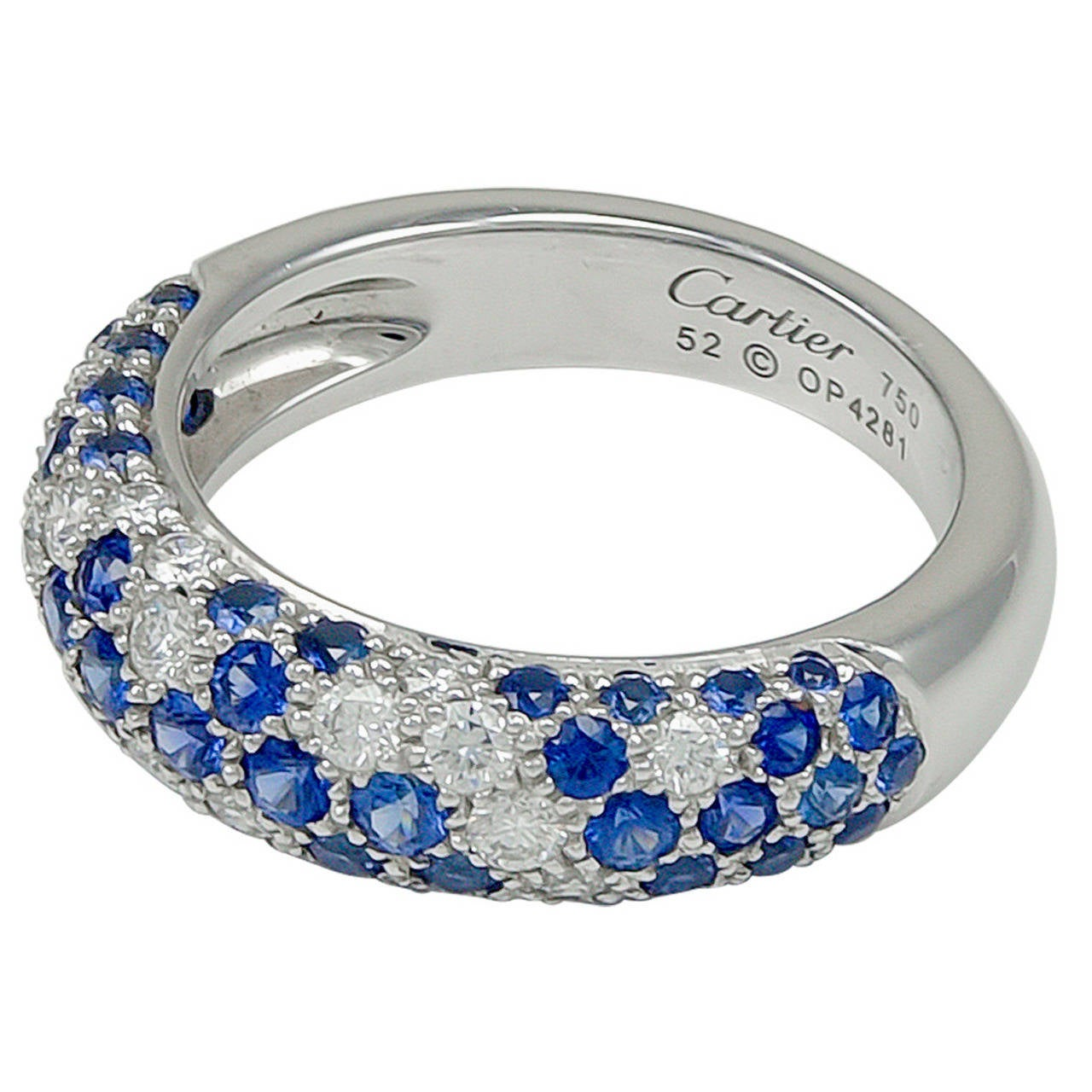 Cartier Diamond Sapphire Gold Band Ring