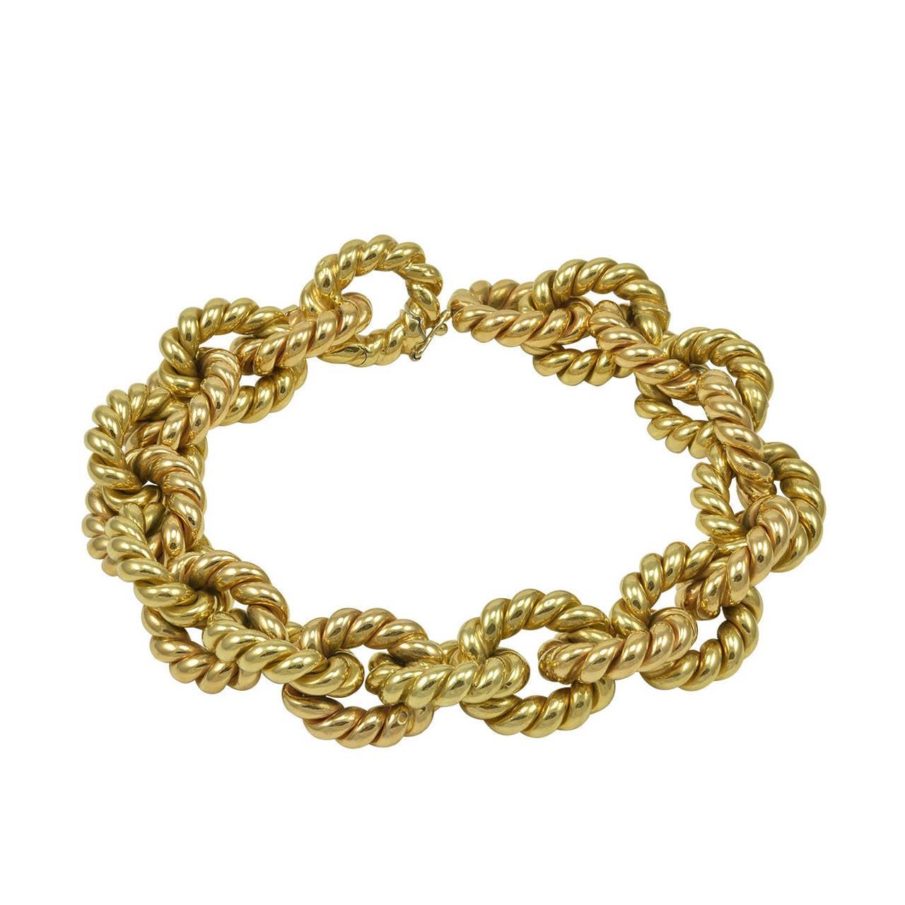 Classic Italian Textured Gold Link Bracelet