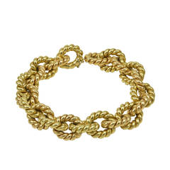 Classic Italian Textured Gold Link Bracelet