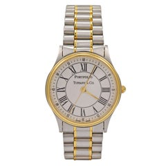 Tiffany & Co Stainless Steel and Yellow Gold Portfolio Wristwatch
