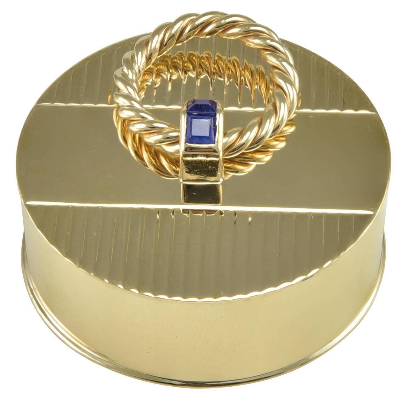 Cartier Sapphire Gold Round Engraved Pill Box