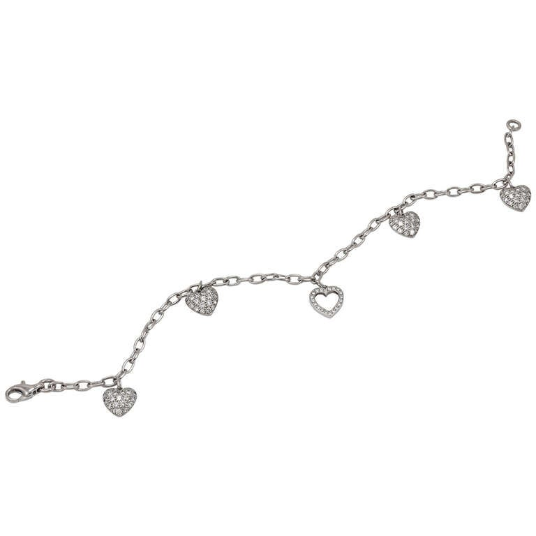 Tiffany & Co. Diamond Platinum Heart Bracelet