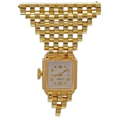 Cartier Lady's Yellow Gold Lapel Watch