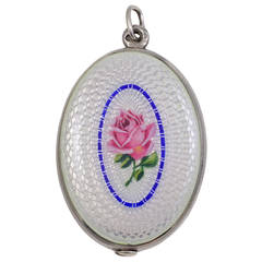Gorgeous Antique Enamel Sterling Silver Locket