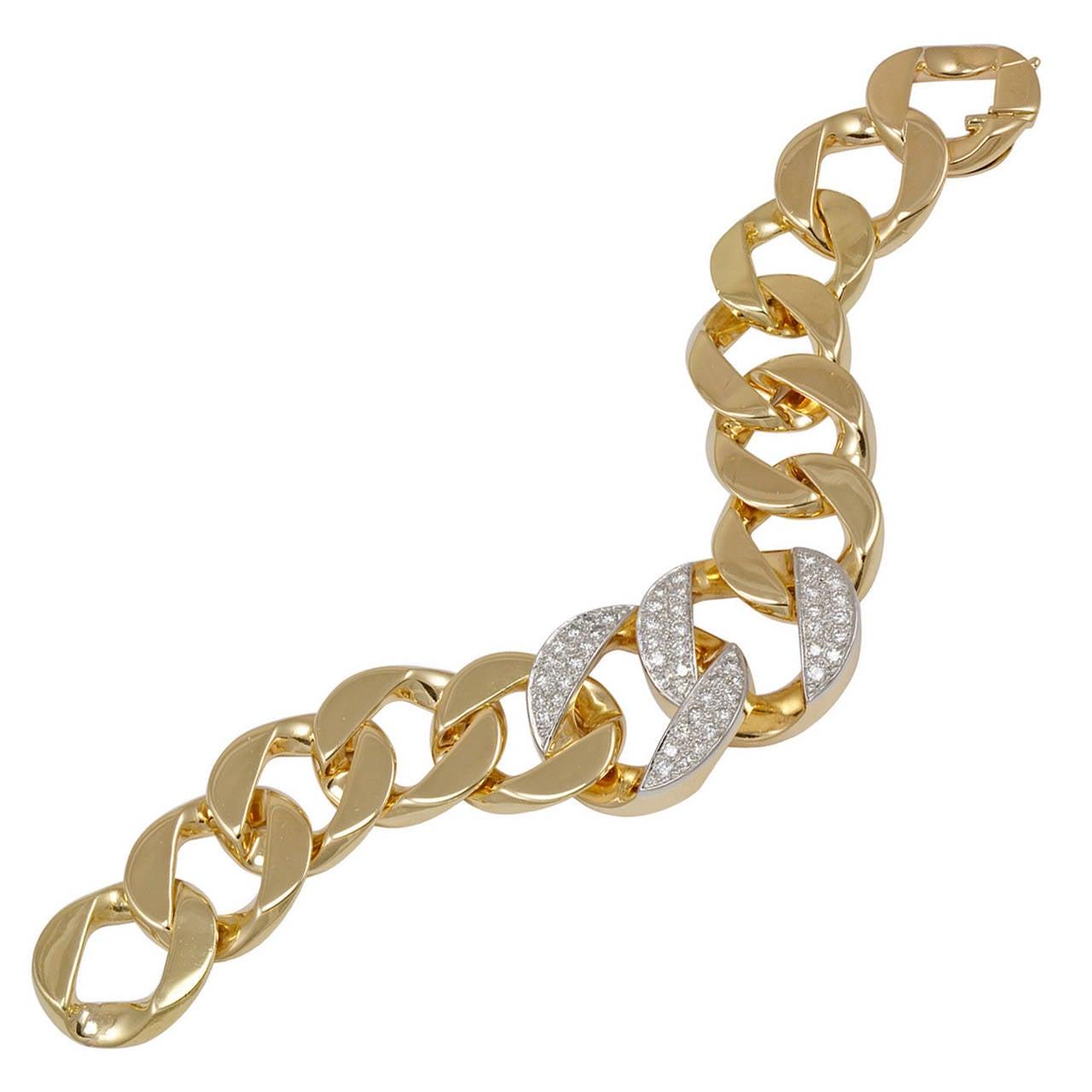 1940s Cartier Fabulous Diamond Gold Link Bracelet