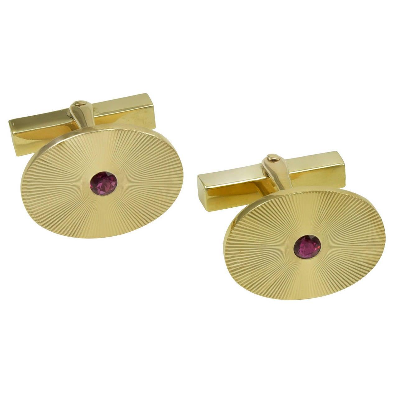 Tiffany & Co. Ruby Gold Cufflinks