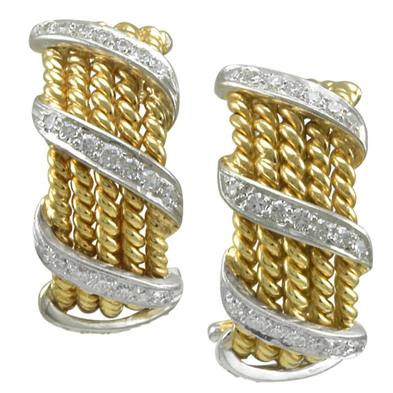 Tiffany & Co. Schlumberger Diamond Gold Band Earrings