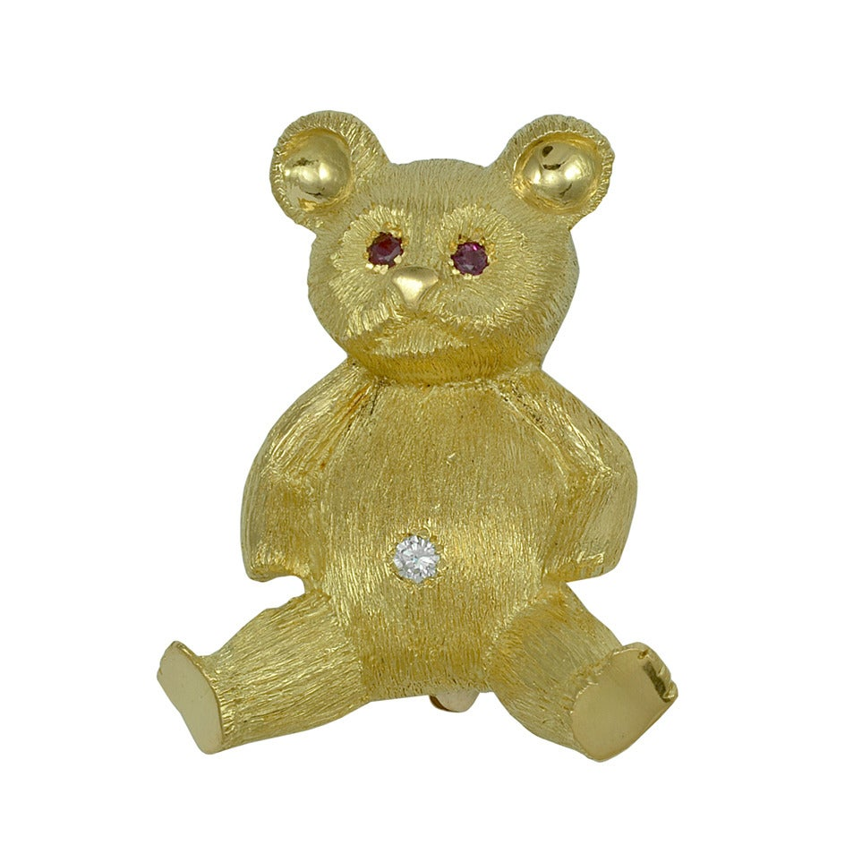 Tiffany & Co. Ruby Diamond Gold Teddy Bear Pin