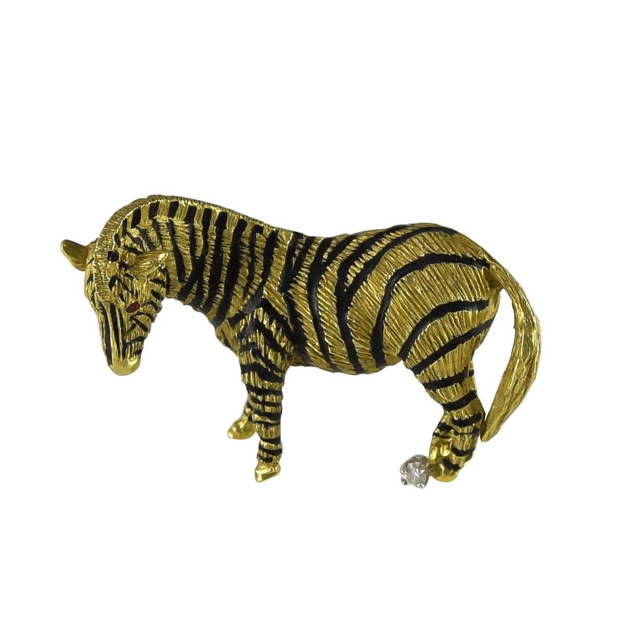 Enamel Gold Zebra Brooch