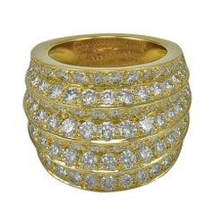 "Van Cleef & Arpels ""Seville"" Eight Row Spectacular Diamond Gold Ring"
