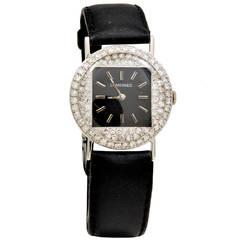 Longines Lady's White Gold and Diamond Wristwatch