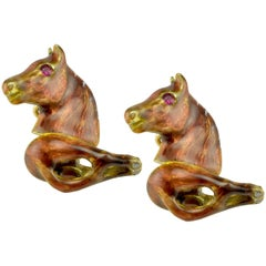 Horse Head and Tail Enamel Gold Cufflinks