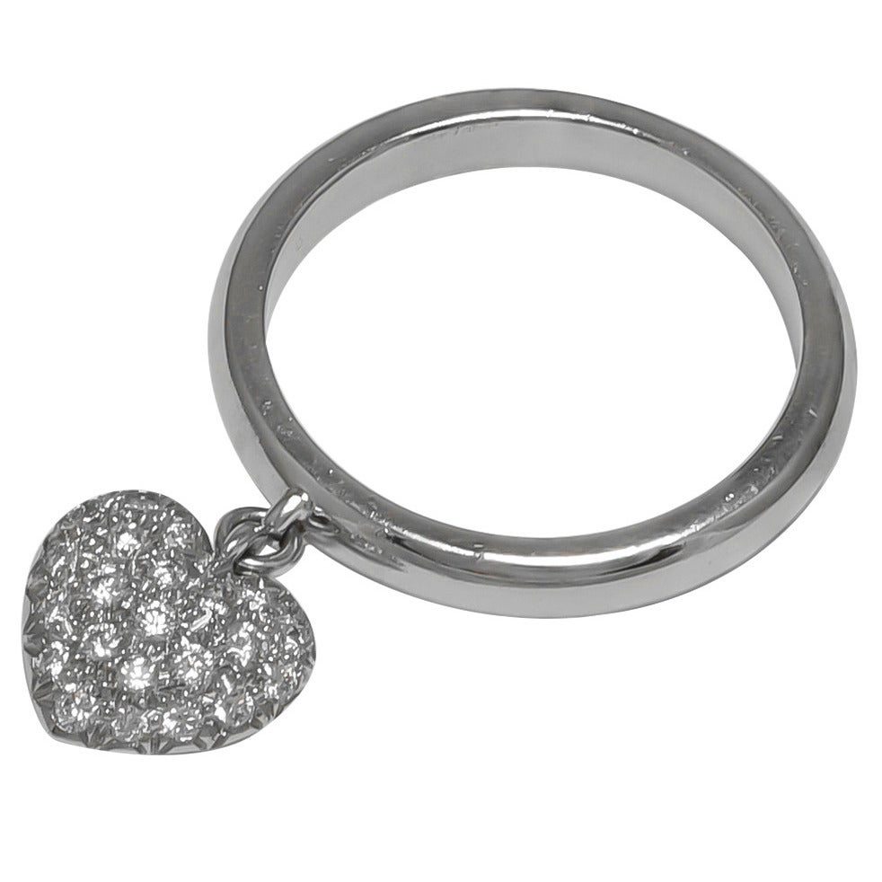"TIFFANY & CO ""TAG"" Diamond Heart Platinum Ring"