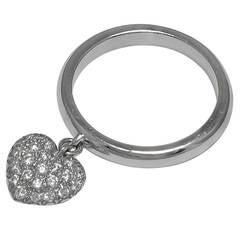 "TIFFANY & CO ""TAG"" Diamond Heart Platinum Ring"