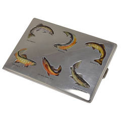 """Trout"" Fish Case Antique Sterling and Enamel"