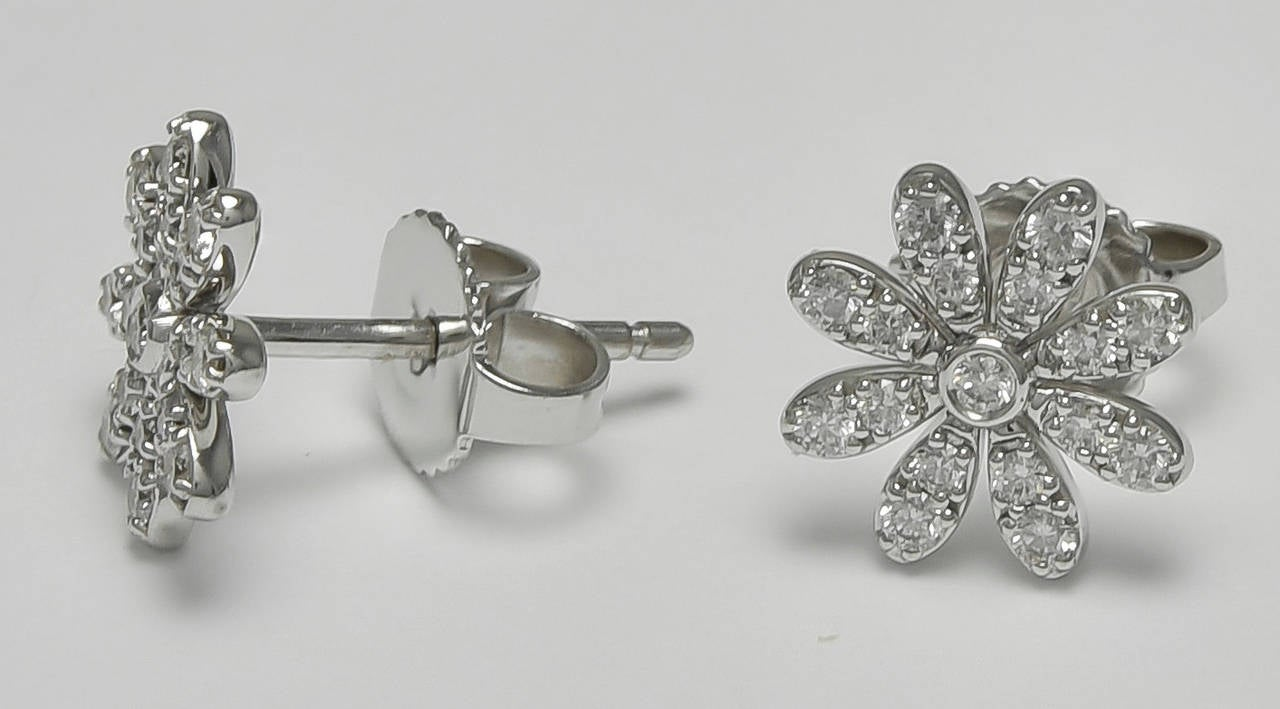 """Shimmering figural flower earrings. Made & signed by Tiffany & Co. All-over pavé diamond daisies set in 18K white gold. 1/3"""" in diameter. A lovely feminine look.  Alice Kwartler has sold the finest antique gold & diamond jewelry and silver for"""
