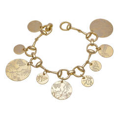 Gucci Floral Collection Gold Horse Bit Charm Bracelet