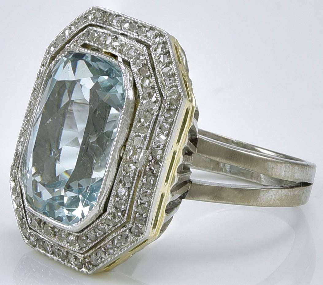 Edwardian Aquamarine Diamond Platinum Ring 2